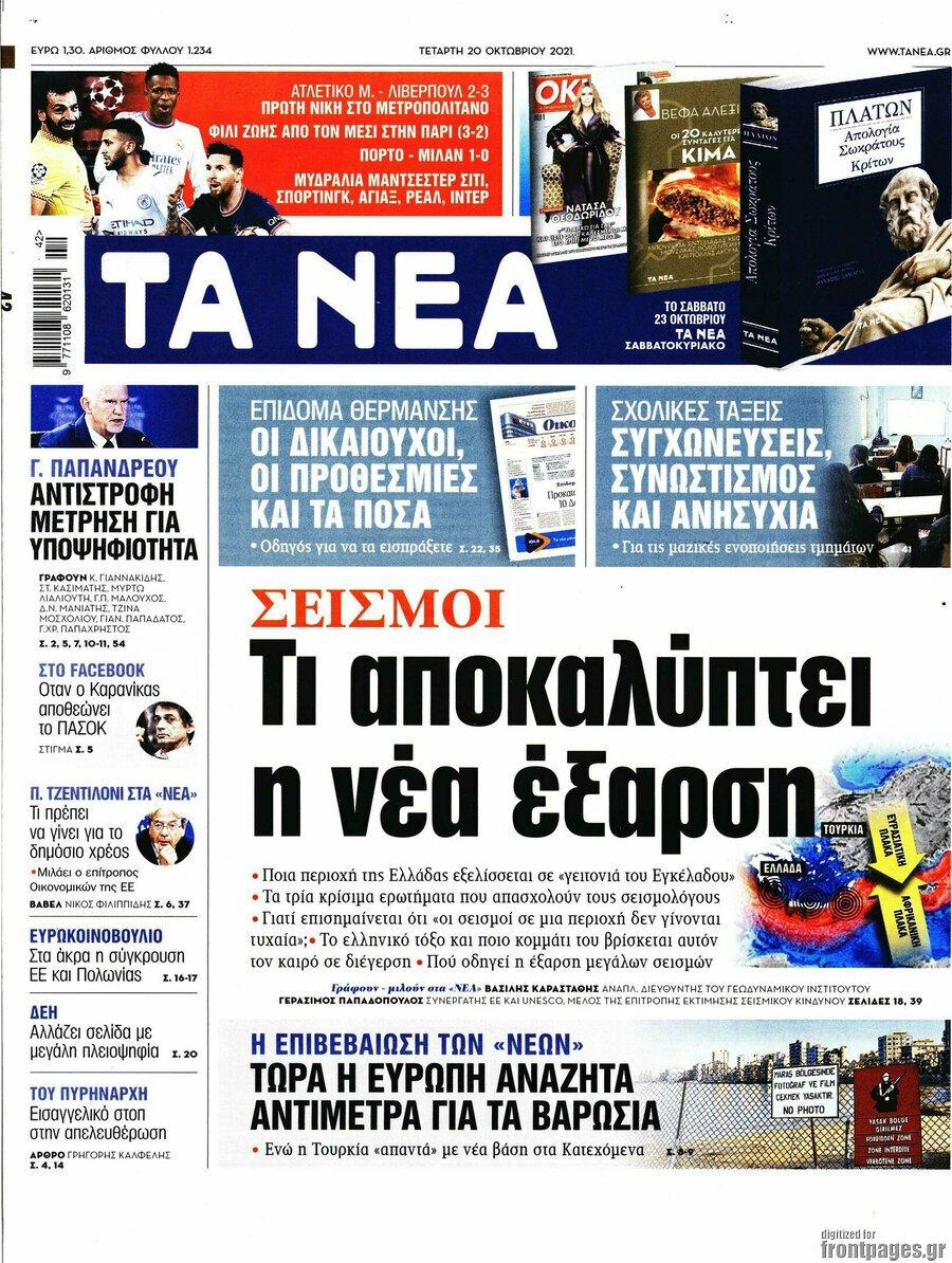 Τα πρωτοσέλιδα των εφημερίδων 20/10/2021